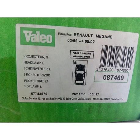 VALEO 087469 HEADLIGHTS LEFT RENAULT MEGANE 99' 7701047093